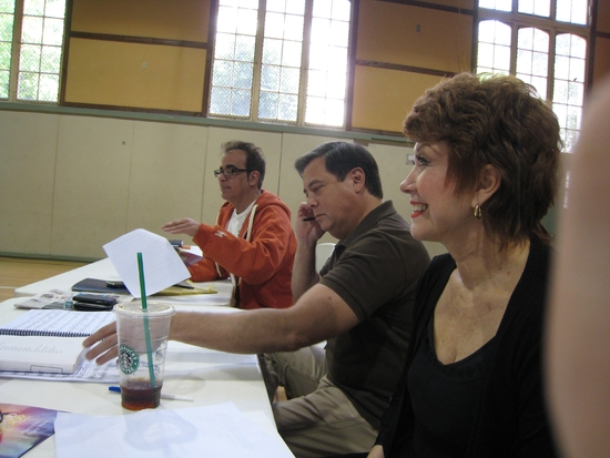 Richard Jay-Alexander, Kevin Stites and Donna McKechnie during auditions in L.A. at Behind the Scenes of 'Guys and Dolls' in Concert at the Hollywood Bowl