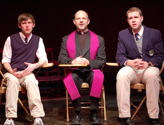 KC Comeaux (Peter), Tony Humrichouser (Priest) and Shea Coffman (Matt) at bare At The Unicorn Theatre