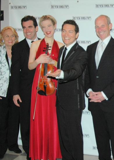 Liz Smith, Brian d'Arcy James, Sara Caswell, Michael Feinstein and Jonathan Tisch