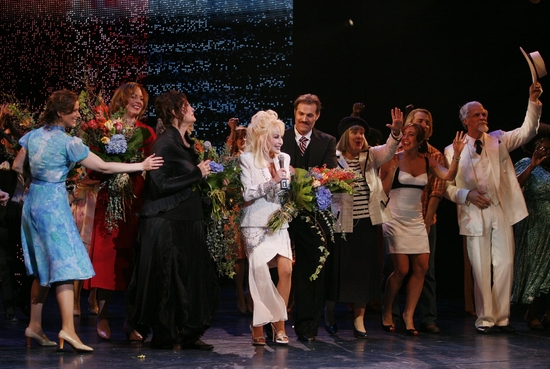 Stephanie J. Block, Allison Janney, Dolly Parton, Patricia Resnick, Megan Hilty, Marc Kudisch, Kathy Fitzgerald and ensemble at Photo Flashback: A Fond Farewell To The Workin' Girls - Celebrating '9 TO 5' On Broadway