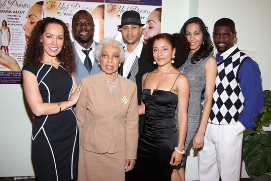 Marcelle Gover, Ms. Ruby Dee, Aura Vence, Mari White, Nicoye Banks. Back row Zeb Harris III and Michael Chenevert