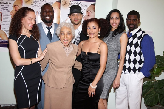 Marcelle Gover, Ms. Ruby Dee, Aura Vence, Mari White, Nicoye Banks. Back row Zeb Harris III and Michael Chenevert