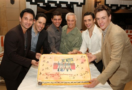 Travis Cloer, Jeff Leibow, Deven May, Tommy DeVito, Rick Faugno, and Erich Bergen