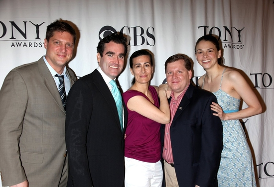 Christopher Sieber, Brian d'Arcy James, Jeanine Tesori, David Lindsay-Abaire and Sutton Foster