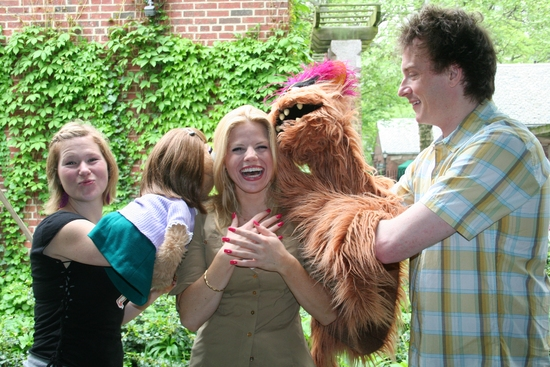 Kate Monster, Carey Anderson, Megan Hilty, Trekkie Monster and Christian Anderson