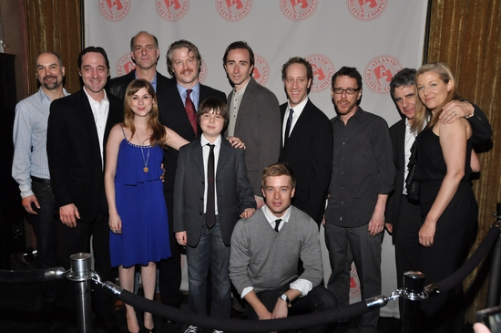 The Offices company: Greg Stuhr, Brennan Brown, John Bedford Lloyd, Aya Cash, C.J. Wilson, Daniel Yelsky, Daniel London, Daniel Abeles, Joey Slotnick, Playwright Ethan Coen, Director Neil Pepe and Mary McCann