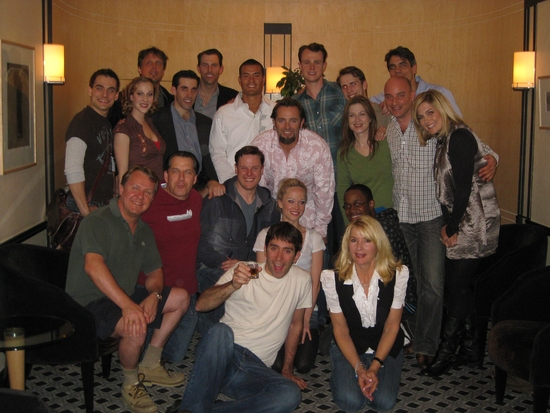 Cast and Band of Jersey Boys Toronto with Toronto Blue Jay Kevin Millar and Baltimore Oriole Jeremy Guthrie