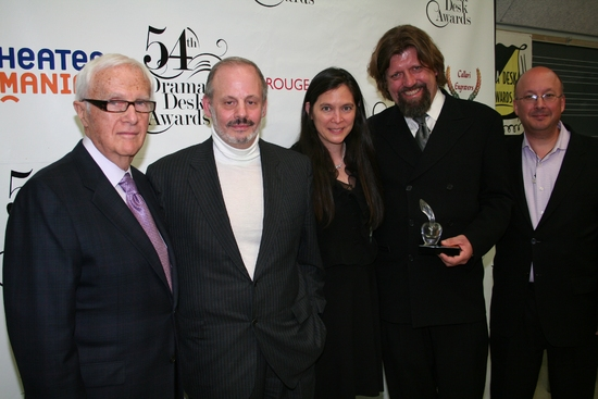 Jerry Frankel, Jeffrey Richards, Diane Paulus, Oskar Eustis and Andrew Hamingson - Outstanding Revival of a Musical: Hair at 2009 Drama Desk Awards Press Room