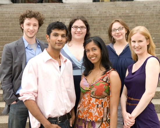 Adam Green, Katherine Kovner, Anna Ziegler; (front row) Utkarsh Ambudkar, Anitha Gandhi, and Heidi Armbruster  at DOV AND ALI At Playwrights Realm