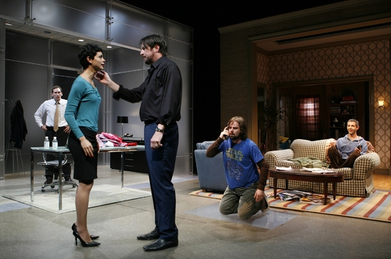 Christopher Evan Welch, Morena Baccarin, Jeremy Strong, Stephen Kunken, and Haynes Thigpen at Theresa Rebeck's OUR HOUSE At Playwrights Horizons
