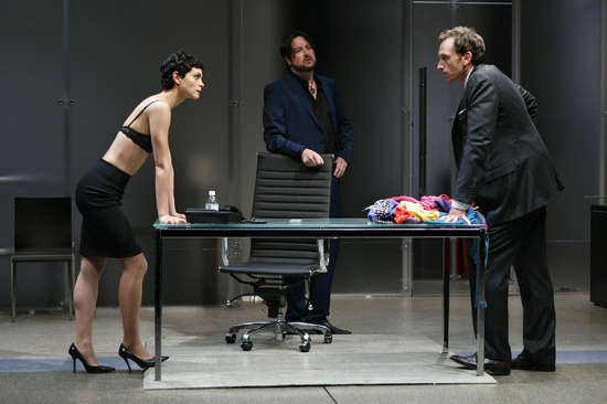 Christopher Evan Welch, Morena Baccarin, and Stephen Kunken at Theresa Rebeck's OUR HOUSE At Playwrights Horizons