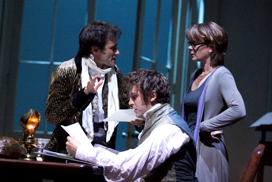 Ed Stoppard, Dan Stevens, and Samantha Bond