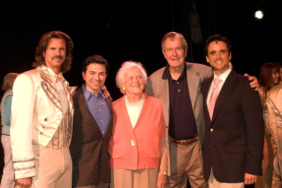 Lorenzo Lamas, Luis Villabon, Barbara Bush, George Bush, and Bradford Kenney