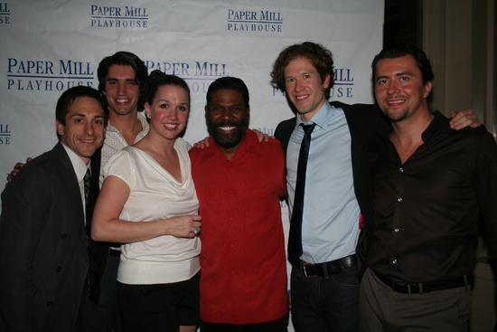 Jason Babinsky, Mark Fisher, Holly Davis, Milton Craig Nealy, Allen E. Read and Timothy Smith at THE FULL MONTY 'Reveals All' On Opening Night At The Paper Mill Playhouse