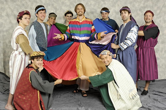 Paul McGlew, Rob Gougher, Jamie Kay, Andrew Millin, Ethan Levy, Michael Kaish, Jim Petro as Joseph, Matt South, Joe Zedeny, and Dan Slothower at JOSEPH AND THE AMAZING TECHNICOLOR DREAMCOAT Runs At MCCC 6/10-19