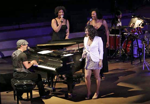 Matt Cusson, Lindsey Rose, Shoshana Bean, Jacqueline Arnold and Ronnie Mongue at the Ford Amphitheatre (courtesy of Upright Cabaret)