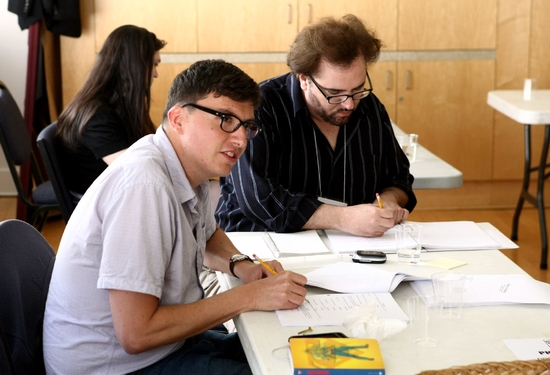 Playwright Roberto Aguirre-Sacasa and director Bart DeLorenzo at South Coast Rep's Doctor Cerberus
