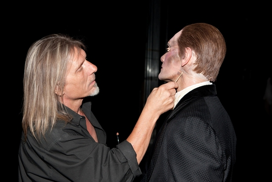Make-up Artist Ron Wild touches up Anthony Crivello