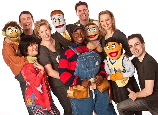 Ann Harada, Christian Anderson, Jennifer Barnhart, Danielle Thomas, Nick Kohn, Anika Larsen, and Rob McClure at Photo Flashback: Farewell To Broadway's AVENUE Q - The Final Cast