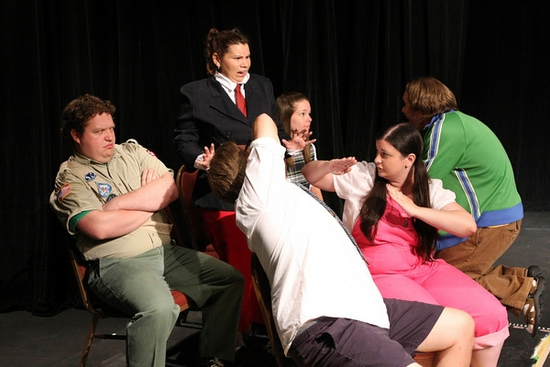 Alexis Kinney, Katie Nestor, Emily Berry. back row, Mike Dowdy, Nicholas Kelly, Aaron Allen. at New Line Theatre's The 25th Annual Putnam County Spelling Bee