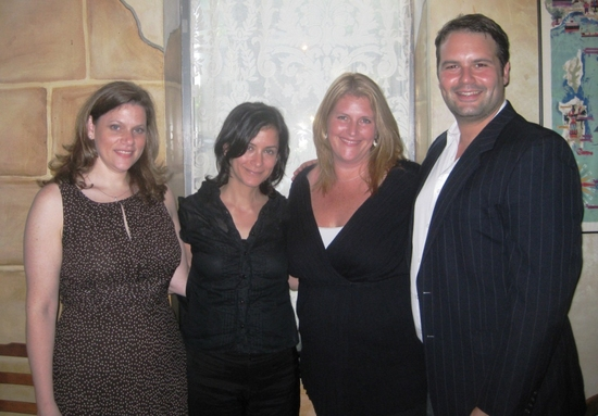 Toby Boshak (Executive Director of PGF-USA), Anna D. Shapiro (Up Director), Bridget Carpenter (Up Playwright), and Alex Torra (Up Assistant Director)