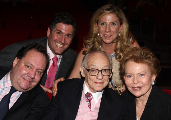 In the top row, Nick Scandalios and Margo Scandalios,  front row, James L. Nederlander, James M. Nederlander and Charlene Nederlander at The First Annual JIMMY Awards