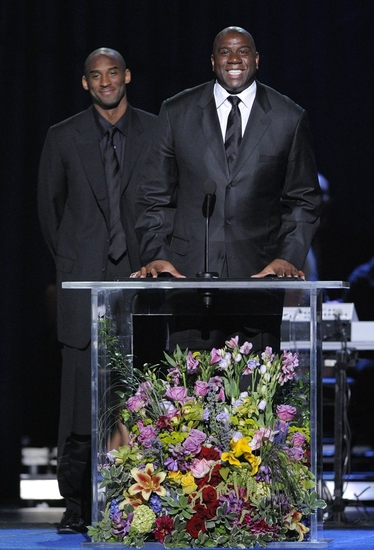 Kobe Bryant and Earvin 'Magic' Johnson, Jr. at The Michael Jackson Public Memorial Service