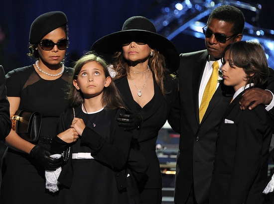 Janet Jackson, Paris Jackson, La Toya Jackson, Randy Jackson and Prince Michael I at The Michael Jackson Public Memorial Service
