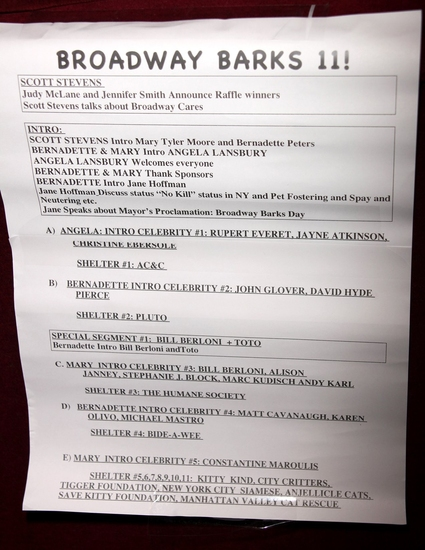 BROADWAY BARKS running order is posted...