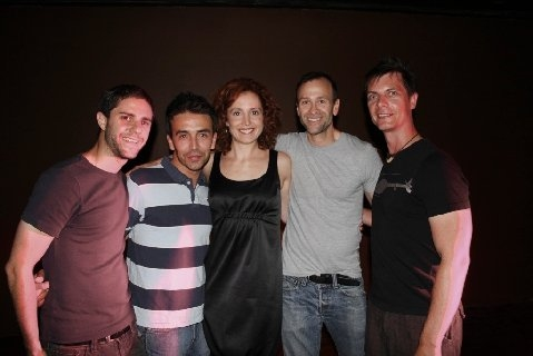 Ian Wiess (MJSLIVE), Celso Moreira, Tricia Brouk (Director), and Mark Selva (MJSLIVE) at Erotic Broadway preview at ONO