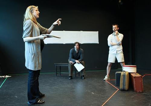 Carolyn Cantor directs the cast (Gareth Saxe as Vladimir and Jason Dechert as Andrei)