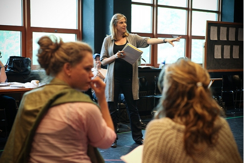 Carolyn Cantor directs the cast (Ana Reeder as Margarita and Bess Wohl as Galina)  at VERA LAUGHED At The Powerhouse Theater