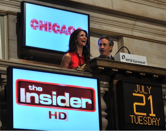 Samantha Harris ringing the opening bell at the New York Stock Exchange in New York City on July 21, 2009
