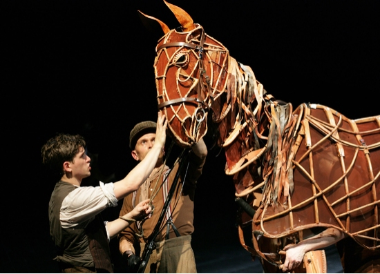 Kit Harington, Puppeteer (Craig Leo) and Joey (Puppet) at WAR HORSE Continues 'Galloping' At New London Theatre
