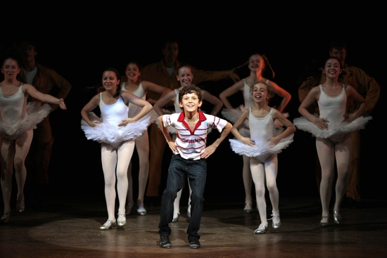 Tom Holland and company at BILLY ELLIOT At The Victoria Palace Theatre