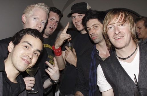 """""""ME"""" band - Nick Perez (Guitar), Aron Forbes (Guitar), Friend, Justin Hosek (Bass), Matt Lucich (Drums) and Jonny Morrow"""