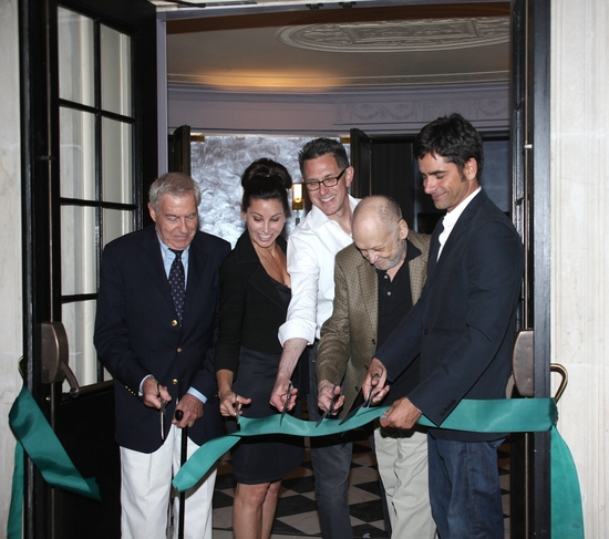 Lee Adams, Gina Gershon, Robert Longbottom, Charles Strouse and John Stamos at 'BYE BYE BIRDIE' Celebrates at the New Henry Miller's Theatre Ribbon Cutting Ceremony