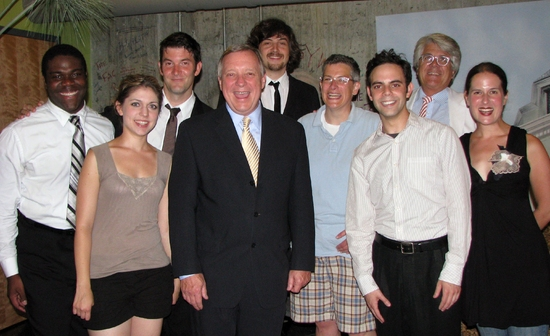 Sen. Durbin with cast of Second City's Barack Stars at Woolly Mammoth