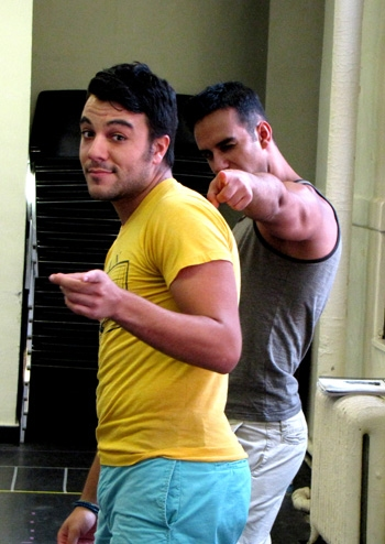 Spiro Galiatsatos and Judah Gavra at THE FULL MONTY Cast Bares All In Rehearsals In Rehearsals In NYC, Show Opens 8/12