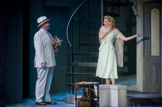 Kevin Carolan (Mitch) and Marin Mazzie (Blanche DuBois) at Mazzie And Innvar Star In Barrington Stage's 'STREETCAR'