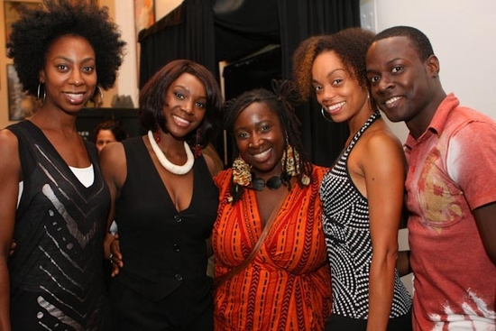 Saycon Sengbloh with cast member for the upcoming Fela! Lauren De Veaux, Abena Koomson, Nicole Chantal De Weever, Corey Baker