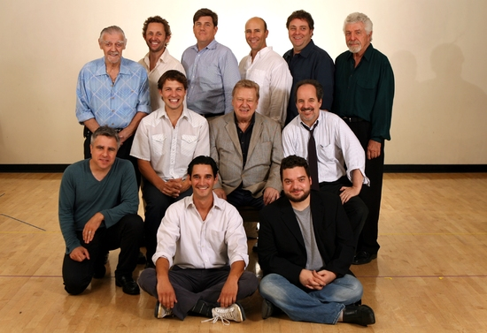 Standing Left to Right: Jack Wallace, Todd Weeks, Rod McLachlan, Jordan Lage, Steven Hawley, J.J. Johnston, Middle row: Director Neil Pepe, Michael Cassidy, Brian Murray, John Pankow, Front row: Jonathan Rossetti, Jeffrey Addiss