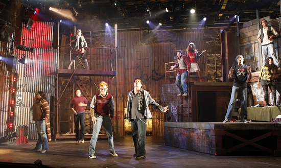Stanley Bahorek, Mike Backes, Brooke Wilson, Nicholas Park, Tara Novie, Jonathan Kitt, Tom Hennes, Cara Buschi, La'Nette Wallace and Kyle Taylor at RENT Runs At The John W. Engeman Theater At Northport Through 11/1