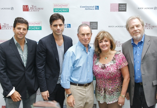 Tim Tompkins, president of The Times Square Alliance, John Stamos, Mayor Michael Bloomberg, Charlotte St. Martin, Executive Director of The Broadway League, and Michael McKean