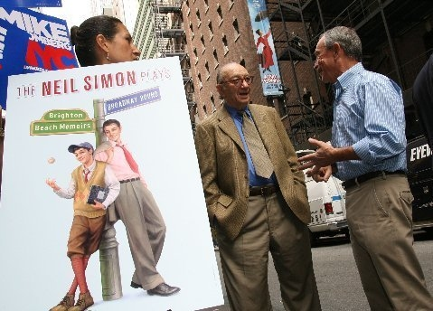 Neil Simon and Mayor Bloomberg at Neil Simon Endorses Mayor Bloomberg