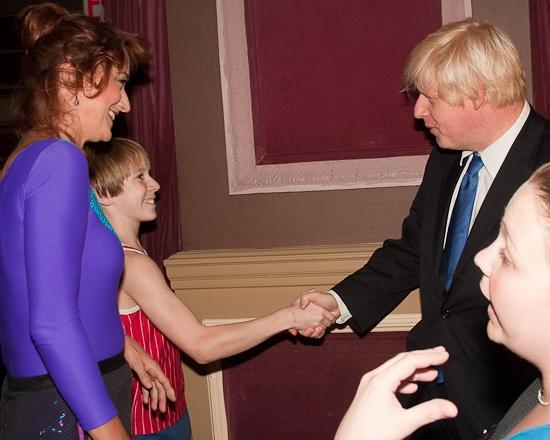 Haydn Gwynne, Tommy Batchelor and Boris Johnson