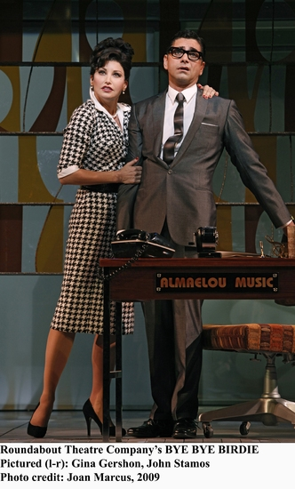 Roundabout Theater Company's Bye Bye Birdie; Pictured (1-r) Gina Gershon, John Stamos