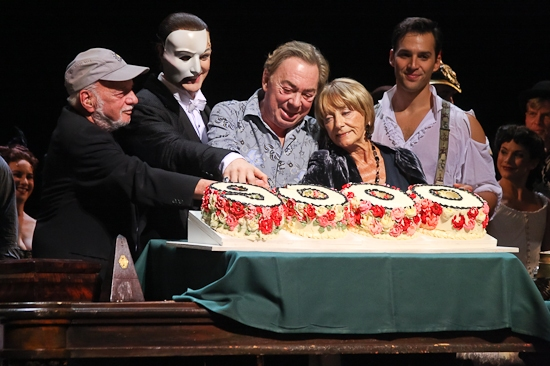Harold Prince, John Cudia, Andrew Lloyd Webber, Gillian Lynne and Gillian Lynne at THE PHANTOM OF THE OPERA 's 9000th Performance on Broadway - Curtain Call