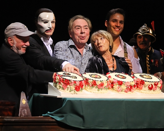 Harold Prince, John Cudia, Andrew Lloyd Webber, Gillian Lynne and Ryan Silverman at THE PHANTOM OF THE OPERA 's 9000th Performance on Broadway - Curtain Call