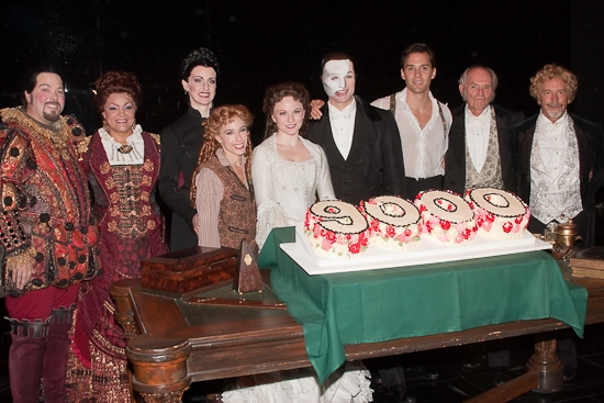 Evan Harrington, Patricia Phillips, Cristin J. Hubbard, Heather McFadden, Jennifer Hope Wills, John Cudia, Ryan Silverman, David Cryer and George Lee Andrews at THE PHANTOM OF THE OPERA 's 9000th Performance on Broadway - Curtain Call